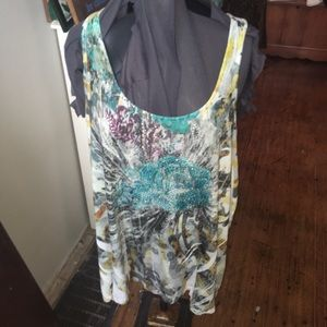Lane Bryant 22/24 jeweled floral sleeveless tunic